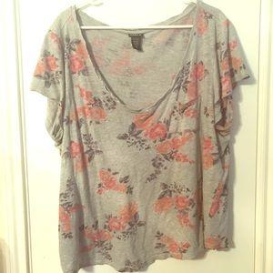 Grey floral torrid shirt size 2